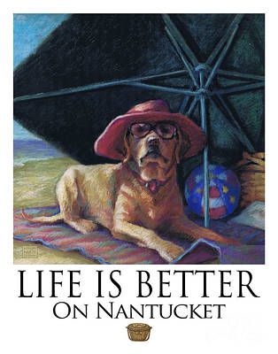 Water Dogs Mixed Media - Life Is Better On Nantucket Yellow Lab by Kathleen Harte Gilsenan