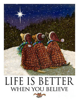 Life Is Better When You Believe - Labrador Retrievers Watching The Christmas Star Art Print