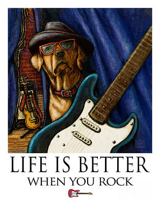 Rock N Roll Mixed Media - Life Is Better When You Rock Yellow Lab With Guitar by Kathleen Harte Gilsenan