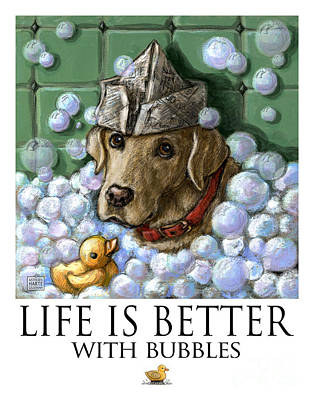 Life Is Better With Bubbles Yellow Lab Art Print by Kathleen Harte Gilsenan