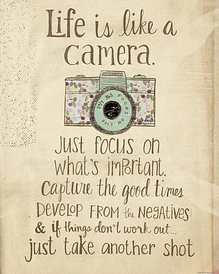 Vintage Camera Painting - Life Is Like A Camera by Katie Doucette