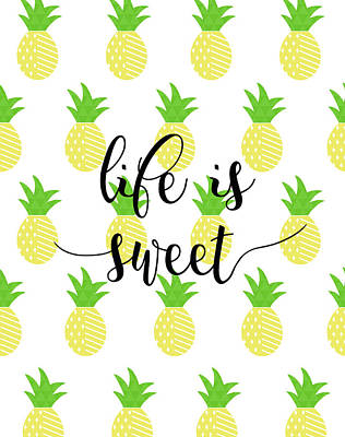 Pineapple Wall Art - Painting - Life Is Sweet - Pineapple by Anna Quach