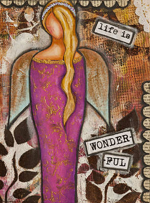 Life Is Wonderful Inspirational Mixed Media Folk Art Art Print