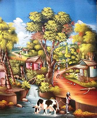 Cawing Painting - Life Of A Villager by Etienne