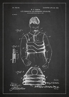 Fin Digital Art - Life Preserver And Swimming Apparatus Patent Drawing From 1903 by Aged Pixel