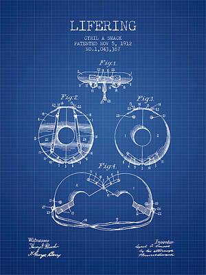 Life Ring Patent From 1912 - Blueprint Art Print