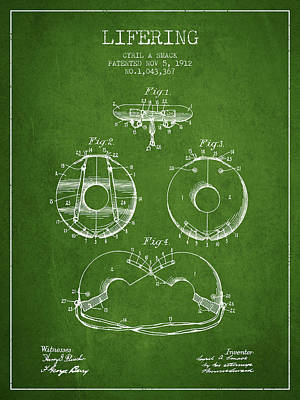 Lifebelt Drawing - Life Ring Patent From 1912 - Green by Aged Pixel