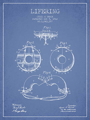 Lifebelt Drawing - Life Ring Patent From 1912 - Light Blue by Aged Pixel