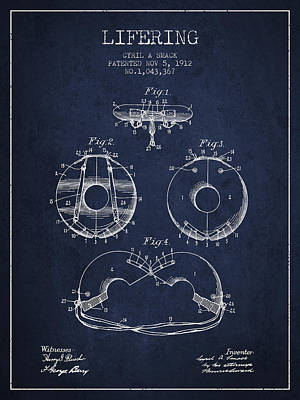 Lifebelt Drawing - Life Ring Patent From 1912 - Navy Blue by Aged Pixel
