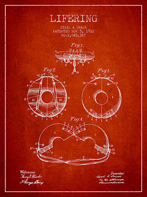 Lifebelt Drawing - Life Ring Patent From 1912 - Red by Aged Pixel