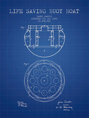 Life Saving Buoy Boat Patent From 1888 - Blueprint Art Print by Aged Pixel
