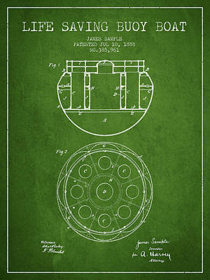 Lifebelt Drawing - Life Saving Buoy Boat Patent From 1888 - Green by Aged Pixel