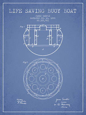 Lifebelt Drawing - Life Saving Buoy Boat Patent From 1888 - Light Blue by Aged Pixel
