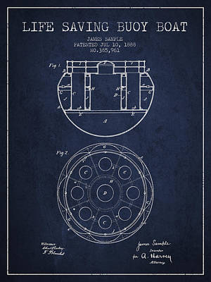 Lifebelt Drawing - Life Saving Buoy Boat Patent From 1888 - Navy Blue by Aged Pixel