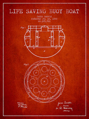 Lifebelt Drawing - Life Saving Buoy Boat Patent From 1888 - Red by Aged Pixel