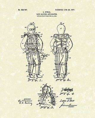 Drawing - Life Saving Device 1907 Patent Art by Prior Art Design