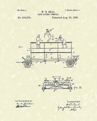 Drawing - Life-saving Vehicle 1893 Patent Art  by Prior Art Design