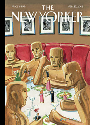 Actress Painting - Life Sized Oscar Awards At A Dinner by Bruce McCall