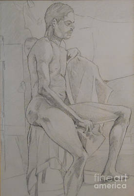 Drawing - Life Study Male Ballet Dancer by Michelle Deyna-Hayward