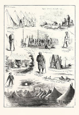 Life Under Canvas, Sketches At The Volunteer Camp Print by English School