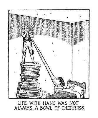 Sleeping Drawing - Life With Hans Was Not Always A Bowl Of Cherries by Glen Baxter