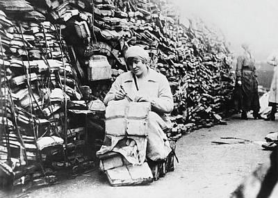 Linoleum Photograph - Lifebelts Into Linoleum by Underwood Archives