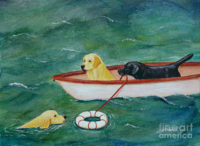 Painting - Lifeboat Labrador Dogs To The Rescue by Amy Reges