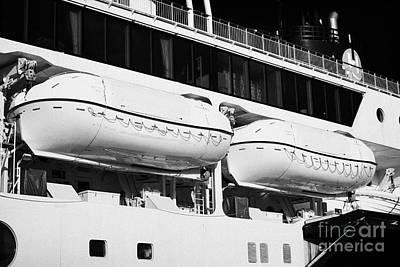 Lifeboats On Hurtigruten Ship Mv Midnatsol Berthed In Kirkenes Finnmark Norway Europe Art Print