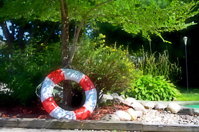Water Bouys Painting - Lifebuoy by Lanjee Chee