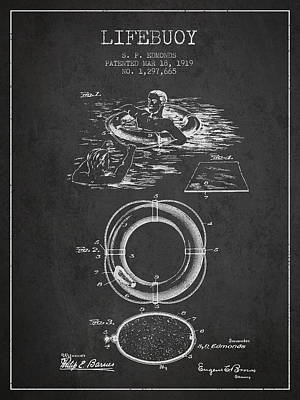 Lifebelt Drawing - Lifebuoy Patent From 1919 - Charcoal by Aged Pixel