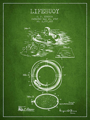 Lifebuoy Patent From 1919 - Green Art Print by Aged Pixel