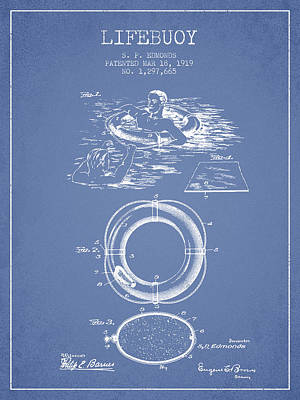 Lifebuoy Patent From 1919 - Light Blue Art Print by Aged Pixel