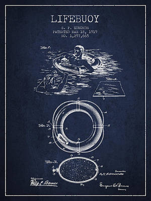 Lifebelt Drawing - Lifebuoy Patent From 1919 - Navy Blue by Aged Pixel