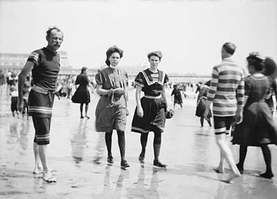 Public Bathing Photograph - Lifeguard And Beach Visitors, 1880-1906 by Science Photo Library