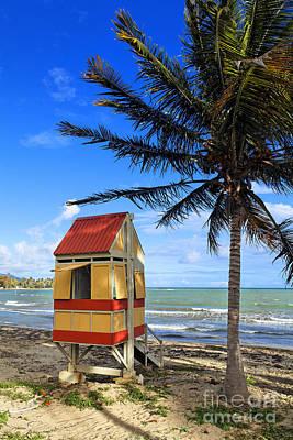 Lifeguard Hut On A Beach Art Print by George Oze