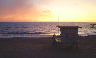 Lifeguard Shack At Sunset Art Print by Mark Barclay