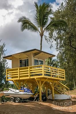 Bath Time Rights Managed Images - Lifeguard Shack DT Fleming Beach Park Royalty-Free Image by Al Andersen