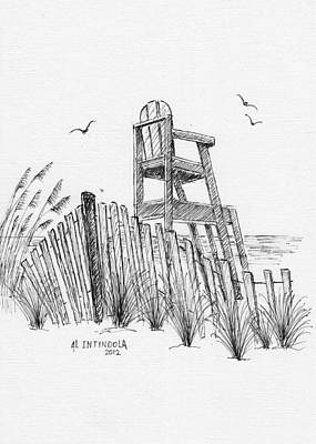 Sand Fences Drawing - Lifeguard Stand by Al Intindola