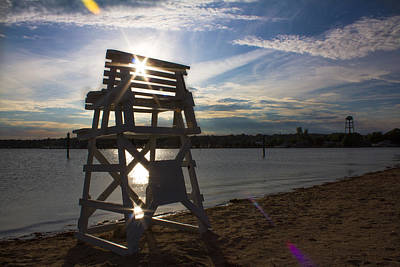 Photograph - Lifeguard Stand Silhouette  by Kirkodd Photography Of New England
