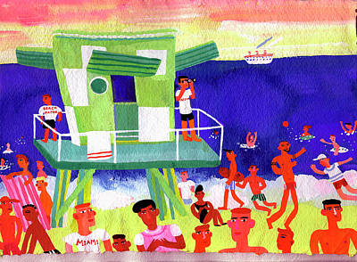 People Digital Art - Lifeguard Station On Beach In Miami by Christopher Corr