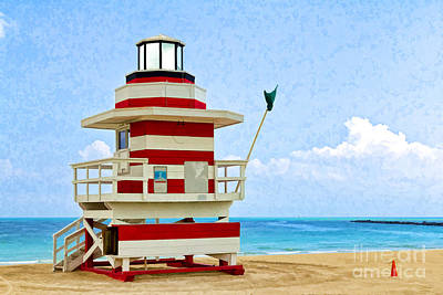 Photograph - Lifeguard Station - Painterly by Les Palenik
