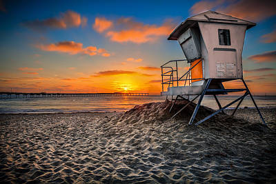 Lifeguard Sunset Art Print by Robbie Snider