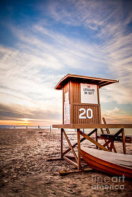 Orange County Photograph - Lifeguard Tower 20 Newport Beach Ca Picture by Paul Velgos