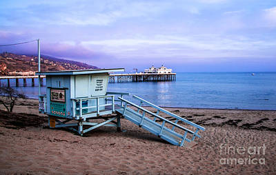 Photograph - Lifeguard Tower And Malibu Beach Pier Seascape Fine Art Photograph Print by Jerry Cowart