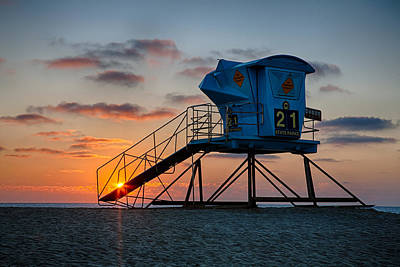 Lifeguard Tower At Sunset Art Print by Peter Tellone
