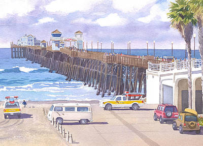 Lifeguard Trucks At Oceanside Pier Art Print by Mary Helmreich