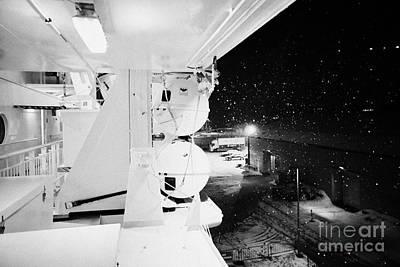 liferafts and lifejacket storage on board the hurtigruten ship ms midnatsol at night in winter in Tr Art Print