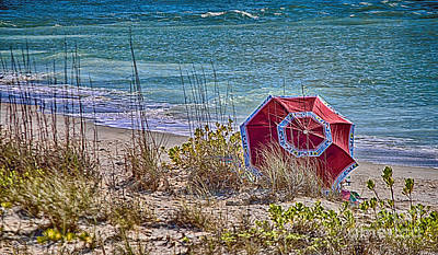 Beach - Umbrella - Life's A Beach On Gasparilla Island Print by Anne Rodkin