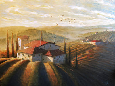 Tuscan Sunset Painting - Lifestyle Of Tuscany Large by Christopher Clark