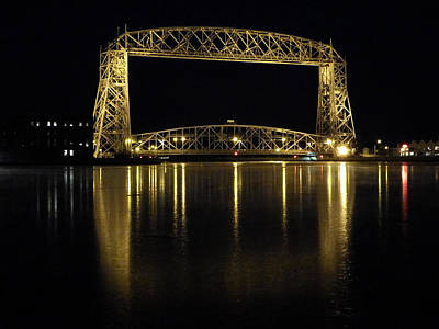 Aerial Lift Bridge Photograph - Lift Bridge Reflections by Alison Gimpel